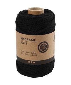 Macramé Koord Zwart 4mm 55m 330g