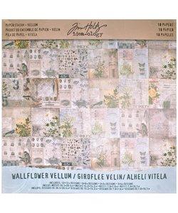 Tim Holtz Idea-Ology Paper Stash 12x12 inch Vellum Wallflower 18 pcs.