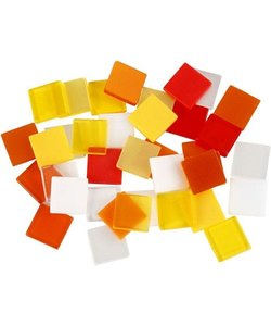 Mozaiek kunststof 10x10 mm, 25 gr. rood/oranje/geel/wit