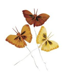 Decoratie Vlinders Oranje/Bruin 2x4cm 6st