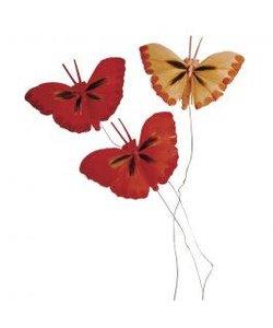 Decoratie Vlinders Rood 2x4cm 6st