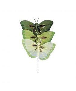 Decoratie Vlinders Groen 2x4cm 6st