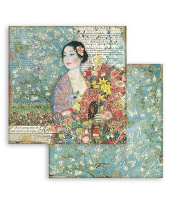 """Stamperia Paper Pack 12x12"""" Atelier des Arts Dame with Fan"""