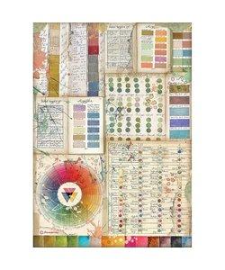 Stamperia rice paper A4 Atelier des arts Pantone Charts