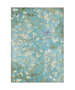 Stamperia rice paper A4 Atelier des arts Blue Background with Butterfly