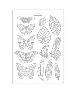 Stamperia Soft Maxi Mould Amazonia Leaves and Butterflies