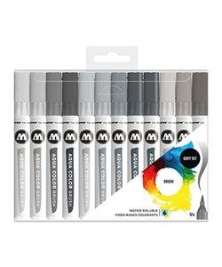 Molotow Aqua Color Brush Grey Set (12)