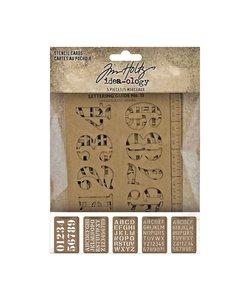 Tim Holtz Idea-Ology Stencil Cards Letters & Numbers 5 pcs