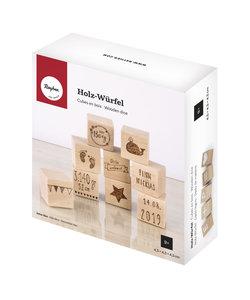Houten kubus 4,5x4,5x4,5, set van 9 stuks
