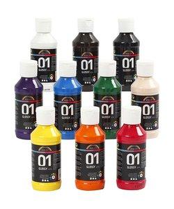A-Color acrylverf diverse kleuren glossy 10x100 ml