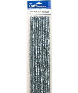 Chenilledraad metallic zilver 6mm. 25x