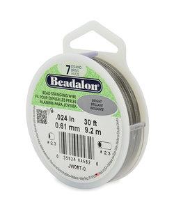 Beadalon rijgdraad  zilverkleurig 0.61mm 9,2 mtr.