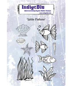 IndigoBlu Stempel Rubber Little Fishies A6 9st.