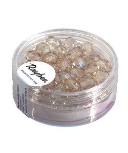 Glazen facetkralen, Iriserend 6 mm Doosje 50 st. Licht Topaas