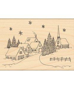 Penny Black Houten stempel Christmas Village 13x9 cm.
