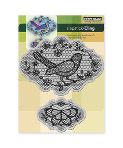 Penny Black Cling rubber stamp A Flight of Thread