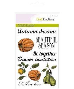 Craftemotions Clear stamp Autumn Pompoen en tekst