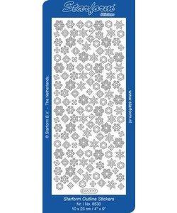 Starform Stickervel Kerstskristallen 10x23cm Zilver nr. 8530