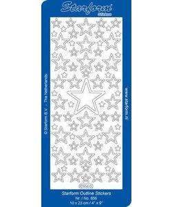 Starform Stickervel Kerststerren 10x23cm  Zilver nr. 856