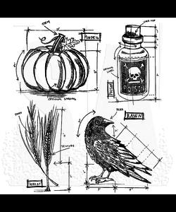 Tim Holtz Cling Stamp Halloween blueprint 2