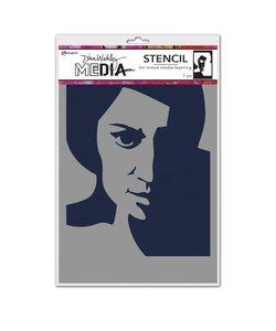Ranger Dina Wakley Media Stencil Pensive Face