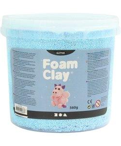Foam Clay, Glitter, 560 gr, 1 emmer, Licht blauw
