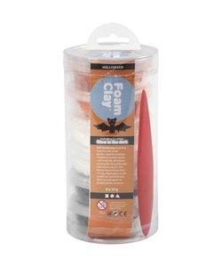 Foam Clay, Ass. Colours, Zwart, Oranje en Wit (Glow in the Dark) 6 Doosjes van 14 gr.