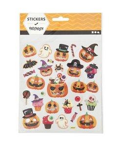 Stickers Halloween pompoenen, 15x16,5 cm, 1 vel