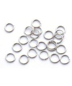 Splitringen enkel Zilver 6mm 20st