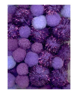 Pom Pom Mix set incl. glitter 2 cm, 2.5 cm, 3.5 cm 50 st. Paars