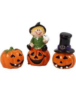 Halloween Miniatuur Figuren H: 1,5-3,5 cm, L: 2 cm  3 stuks