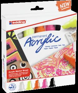 Edding Acrylic marker Broad set/5 Neon