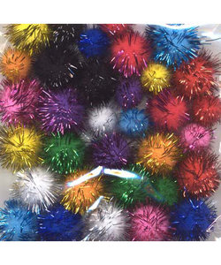 Pom Pom Mix set incl. glitter 2 cm - 1,5 cm 33 st. Assorti