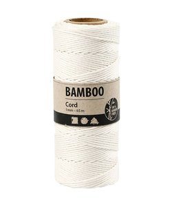 Bamboe koord 1mm. wit/off white 65 mtr.