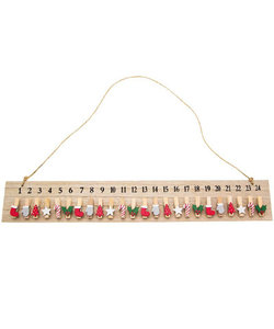 Houten Advents bord met knijpers 48x7,5cm