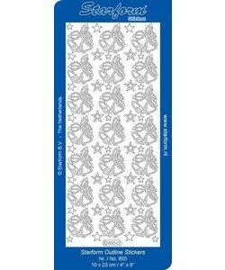 Starform Stickervel Kerstklokken 10x23cm Goud nr. 855