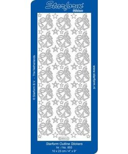 Starform Stickervel Kerstklokken 10x23cm Zilver nr. 855