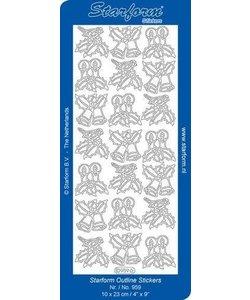 Starform Stickervel Decoratie Kerst 10x23cm Zilver nr. 959