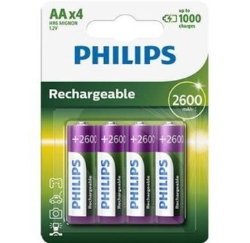 Philips Philips Oplaadbare HR06 NiMH AA 1.2V 2600mAh 4 Stuks Blister