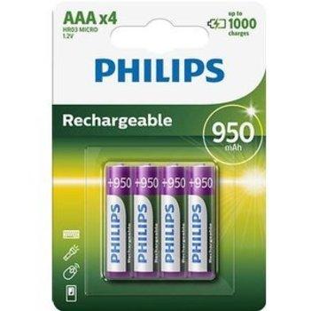 Philips Philips Oplaadbare HR03 NiMH AAA 1.2V 950mAh 4 Stuks Blister