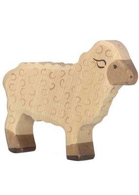 Holztiger Holztiger houten staand schaap, 11x2.3x8.5 cm.