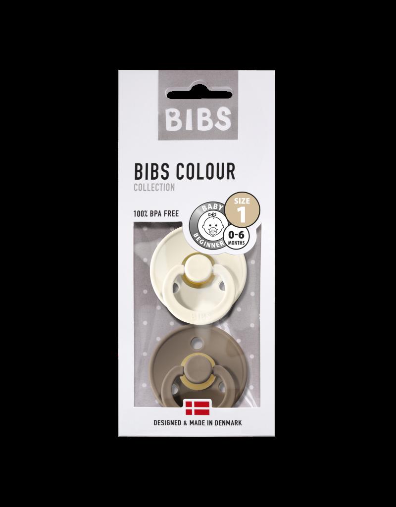 Bibs Bibs - fopspeen natuurrubber - blister dark oak/ivory T1