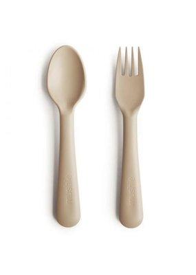 Mushie Mushie - kinderlepel en vork - vanilla