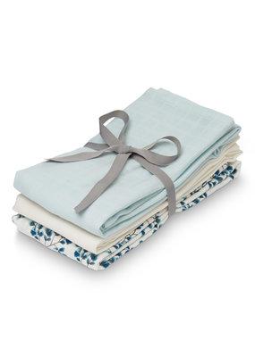 Cam Cam Camcam hydrofiele doeken set van drie fiori,l blue,creme