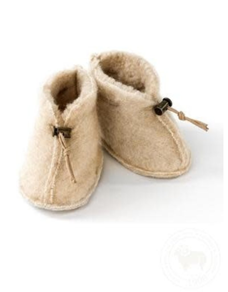 Alwero Alwero - 2402 Babyslofjes Emo wol beige maat M 6 - 12 mnd