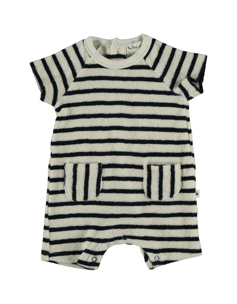 My Little Cozmo My Little Cozmo - Organic toweling baby jumpsuit Dark Blue