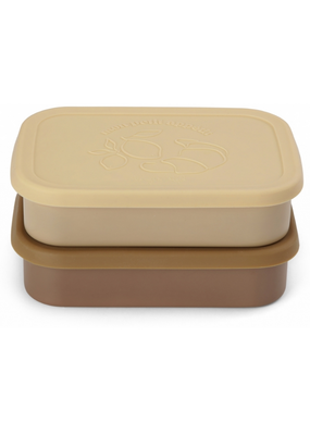Konges Sløjd Konges Slojd : 2 Pack Food Boxes Lid Square - Vanilla Yellow