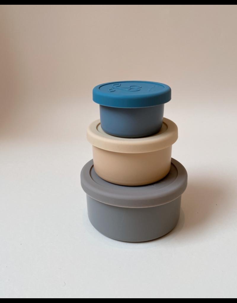 Konges Sløjd Konges SLojd : 3 Pack Food Boxes Lid Round - Blue