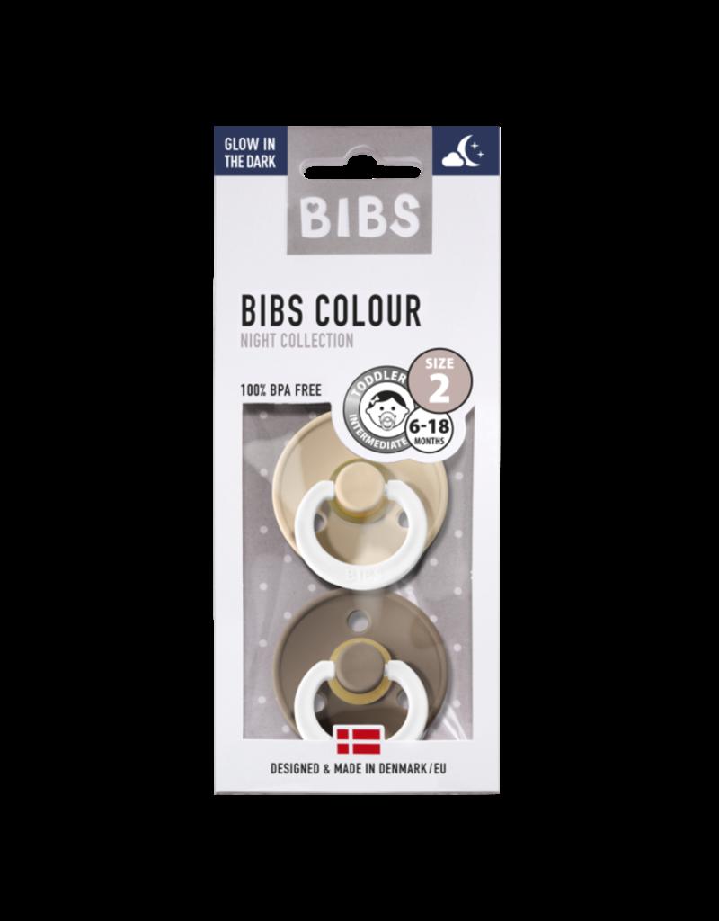 Bibs Bibs : Fopspeen natuurrubber Blister glow in the dark - Vanilla/Dark oak