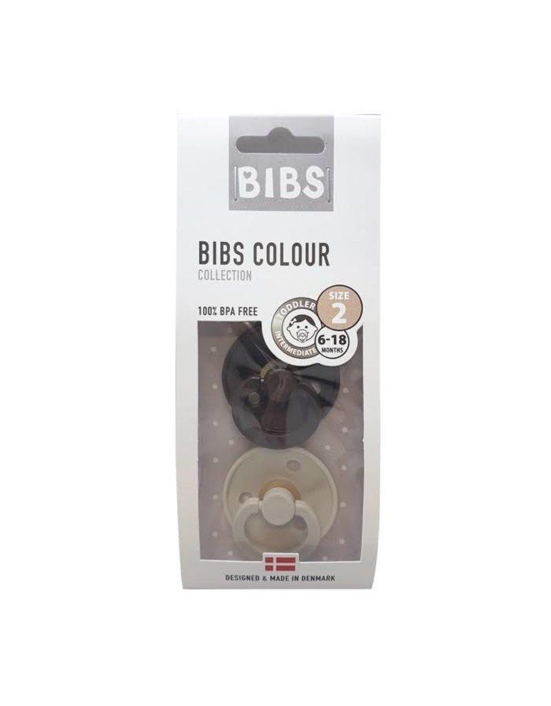 Bibs Bibs : Fopspeen natuurrubber Blister Chocolate/Sand maat 2